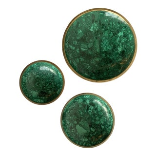 Trio of Malachite and Brass Bowls For Sale