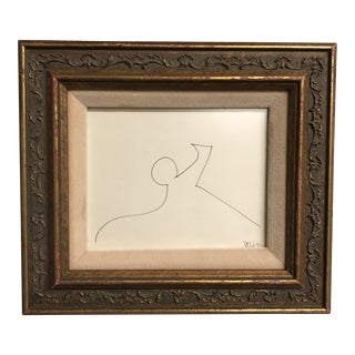 Original Vintage Robert Cooke Small 1970's Abstract Ink Drawing Framed For Sale