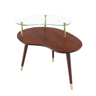 Walnut Glass and Brass Organic Shape Side Table For Sale