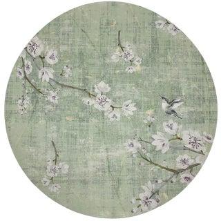 "Nicolette Mayer Blossom Fantasia Celadon 16"" Round Pebble Placemat, Set of 4 For Sale"