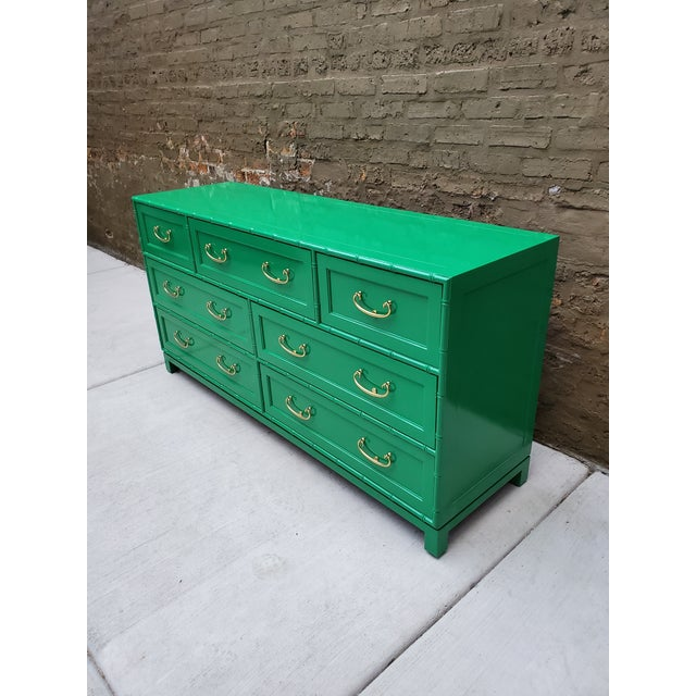 Green 1970s Regency Bamboo Green Lacquer Dresser For Sale - Image 8 of 13