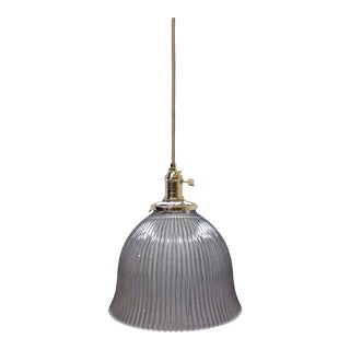 Antique Glass Holophane Pendant Light For Sale