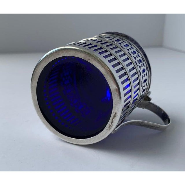 Sterling Silver Mustard Pot With a Cobalt Blue Glass Liner For Sale In West Palm - Image 6 of 9