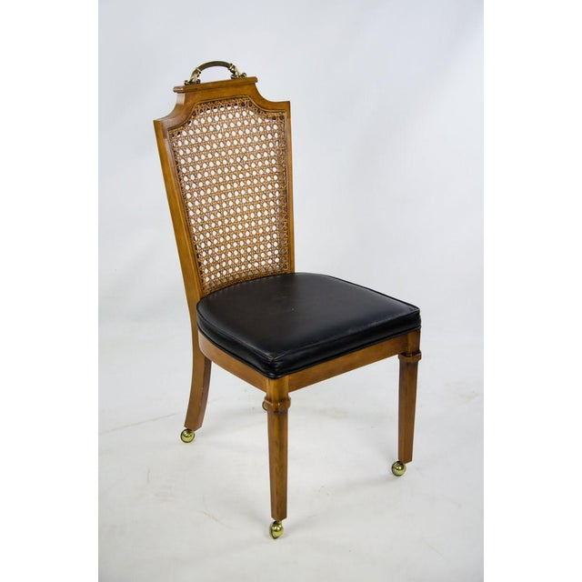 Late 19th Century French Regency Style Caned Back and Vinyl Dining Chairs - Set of 4 For Sale - Image 4 of 13