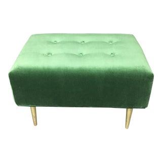 Emerald Green Velvet Ottoman W/ Solid Brass Legs