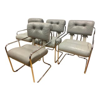 Mid Century Guido Faleschini Gray Leather Chairs, Set of 4 For Sale