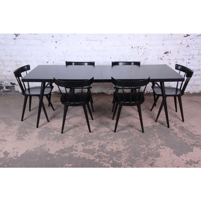 1950s Paul McCobb for Planner Group Ebonized Extension Dining Table & Chairs - Set of 6 For Sale - Image 13 of 13