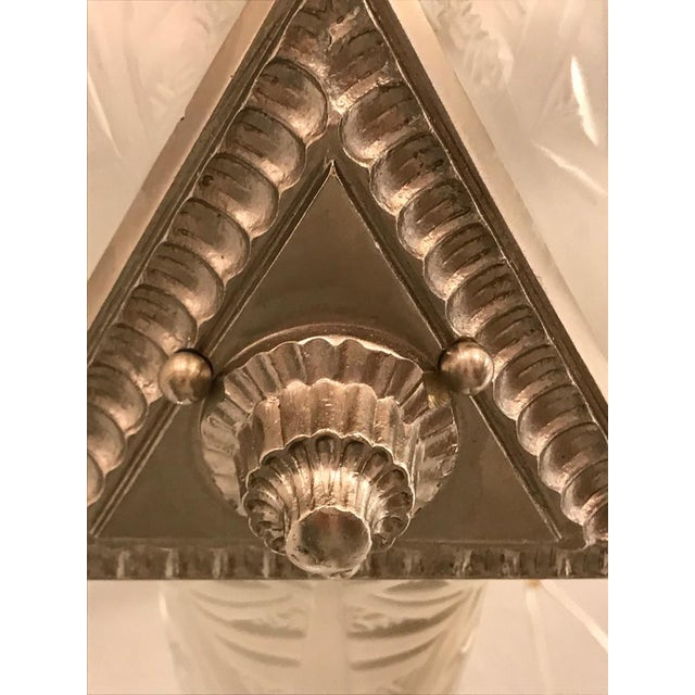 Silver French Art Deco Triangular Starburst Chandelier For Sale - Image 8 of 12