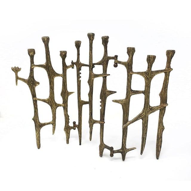 Brutalist Brass Candleholder For Sale - Image 9 of 9