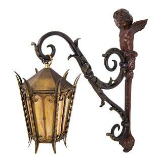 Large Antique Cherub Bracket Bronze and Iron Lantern For Sale