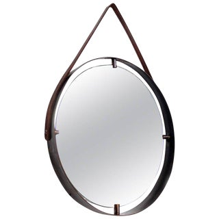 Contemporary Round Wall Mirror in Brass and Leather, Adnet Style For Sale