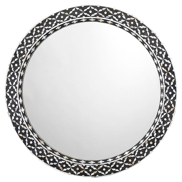 "Jamie Young Evelyn Mother of Pearl 36"" Round Wall Mirror For Sale"