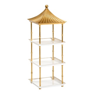 Contemporary Gold Pagoda Shelf For Sale