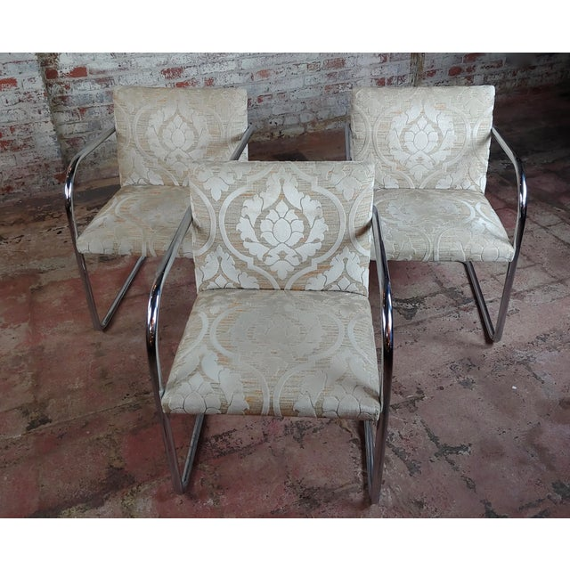 """Mies Van Der Rohe Vintage Chrome Armchairs - set of 4 size 21 x 22 x 31"""" seat height 19"""" A beautiful piece that will add..."""