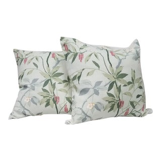 Light Green Leaf Motif Square Pillows - A Pair For Sale