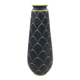 1950s Larholm Keramikk Norwegian Vase in Black and Green For Sale