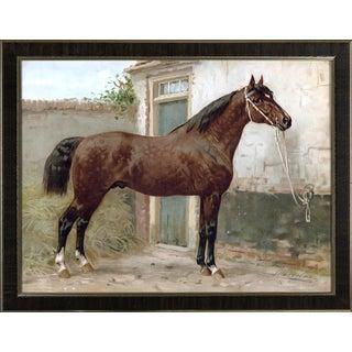Norman Horse by Eerelman Framed in Italian Wood Vener Moulding For Sale