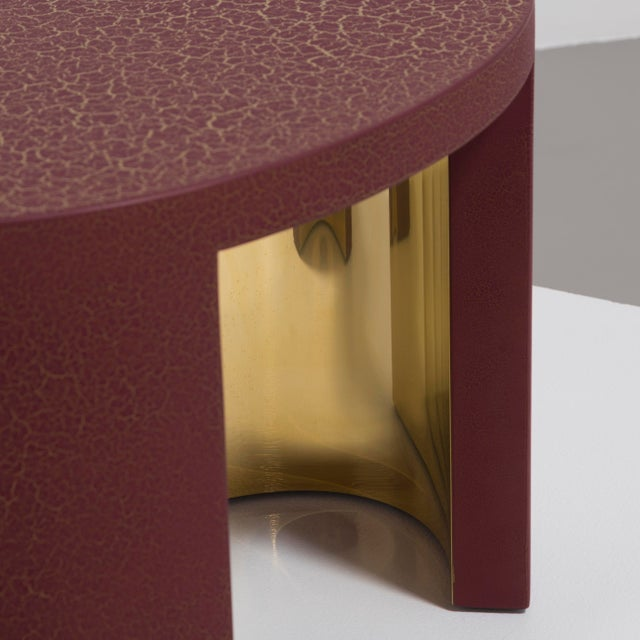 Brass The Oval Crackle Side Tables by Talisman Bespoke (Burgundy and Gold) For Sale - Image 7 of 8