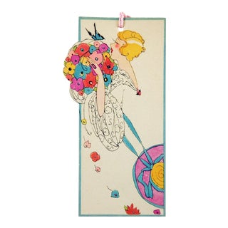 Vintage Art Deco Die Cut Lady Floral Butterfly Bridge Tally Cards - Set of 3 For Sale