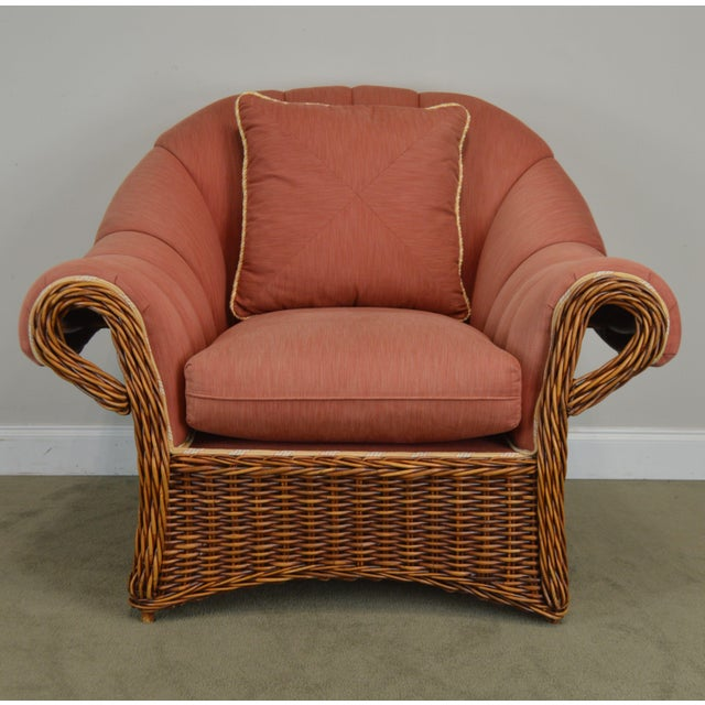 Pierce Martin Quality Pair Rolled Arm Wicker Lounge Chairs For Sale - Image 12 of 13