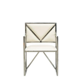 Contemporary Cream Leather X Arm Chair