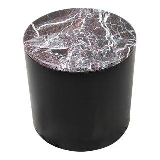 Vintage Mid Century Modern Paul Mayen Style Burgundy Marble Top Drum Side Table For Sale