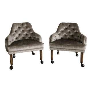 1970s Vintage Velvet Tufted Barrel Back Club Chairs- A Pair For Sale