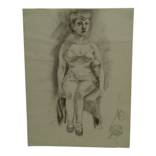 """1949 Mid-Century Modern Original Drawing on Paper, """"Sitting in Lingerie"""" by Tom Sturges Jr. For Sale"""
