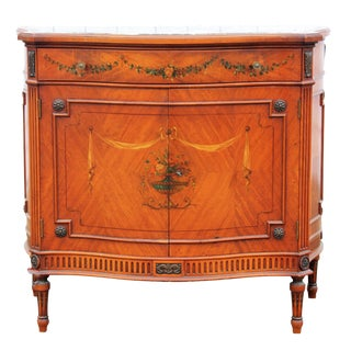 1930s Adams Style Decorated Serpentine Front Marble Top Console
