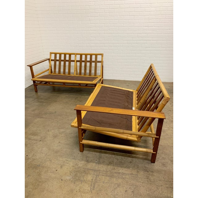 Mid-Century Modern Vintage Ficks Reed Walnut With Rattan Sectional Sofas - A Pair For Sale - Image 3 of 12