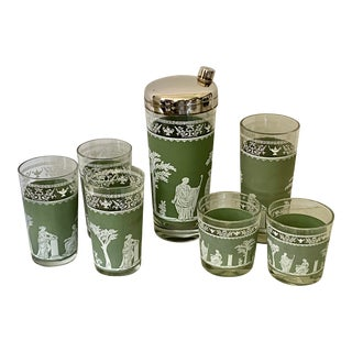Jeannette Glass Corinthian Cocktail Shaker and Glassware - - Set of 7 For Sale