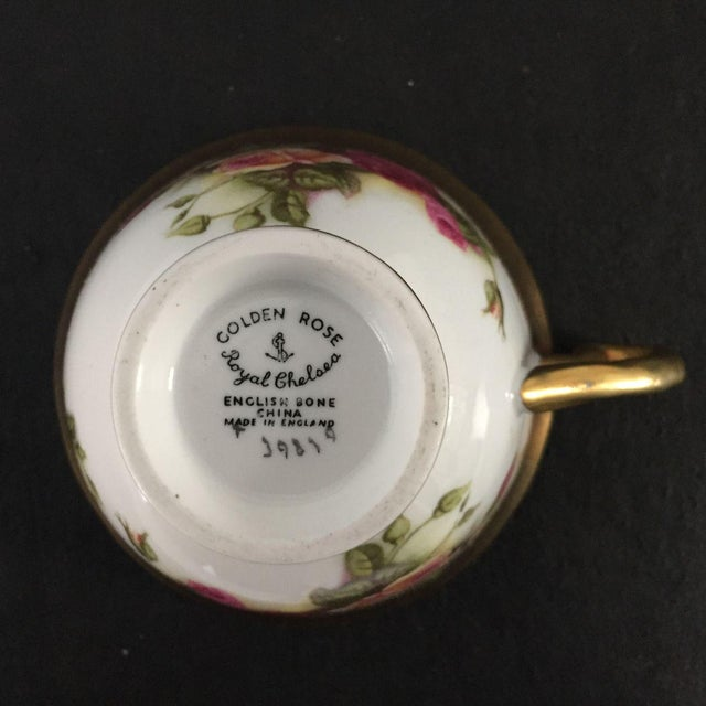 Vintage Royal Chelsea Golden Rose Tea Cup & Saucer - 2 Piece For Sale - Image 5 of 6