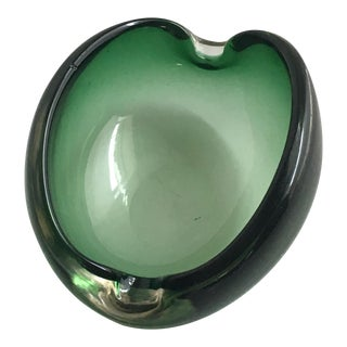 Alfredo Barbini Murano Glass Green Ashtray For Sale