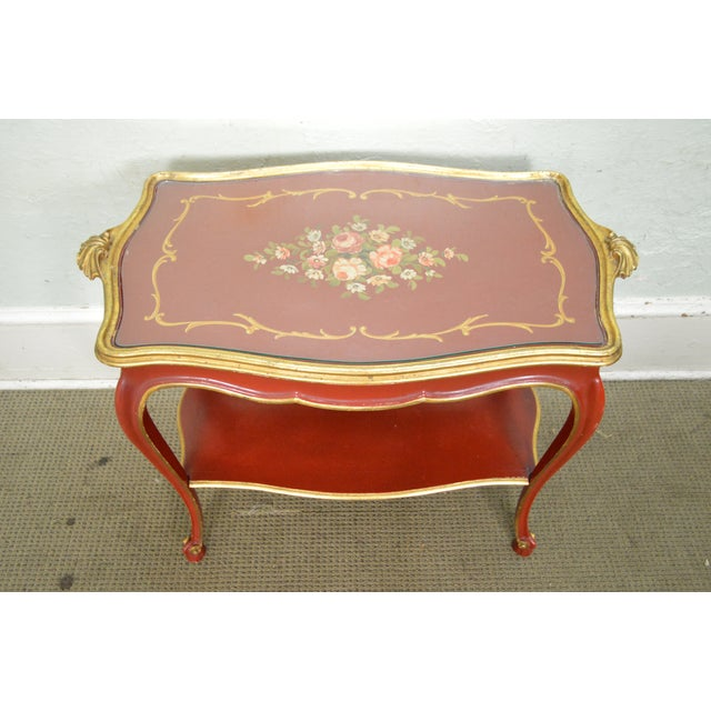 Rococo Hand Painted Partial Gilt Etagere 2 Tier Table - Image 9 of 11
