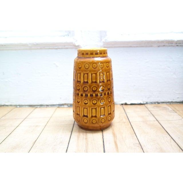 Ceramic 1960s Mid-Century West German Scheurich Keramik Inka Mustard Ceramic Vase For Sale - Image 7 of 8