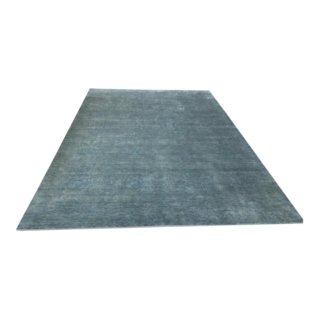 Hand Knotted Green Blue Grey Wool and Silk Rug - 10' x 14' For Sale