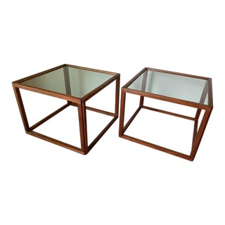 Danish Teak Cube Tables - a Pair For Sale