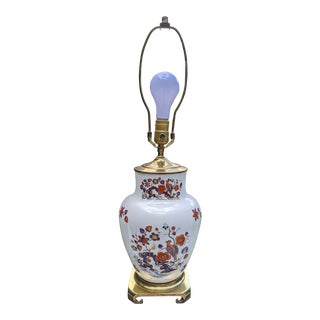 Japanese Imari Porcelain Ginger Jar Table Lamp W/ Brass Curved Footed Base For Sale