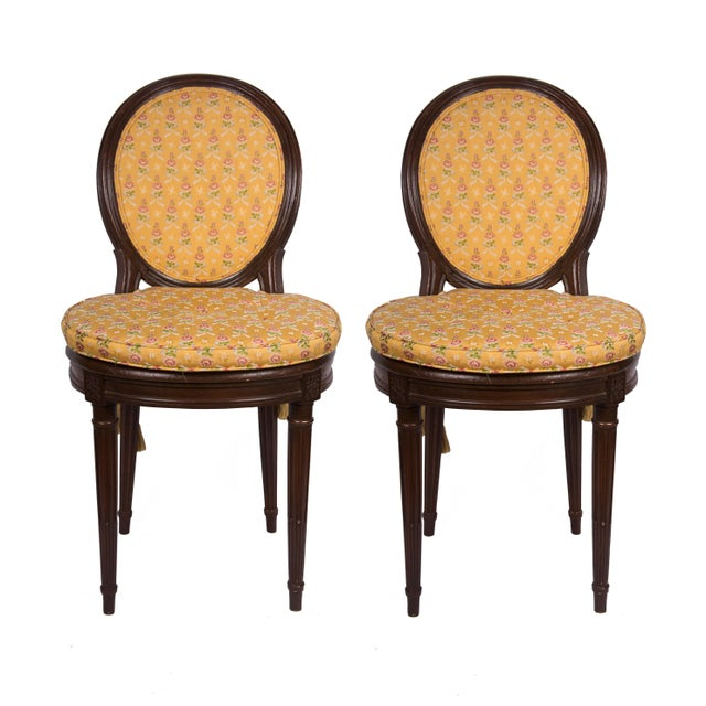 Textile 19th Century Walnut Caned Musician's Chairs For Sale - Image 7 of 7