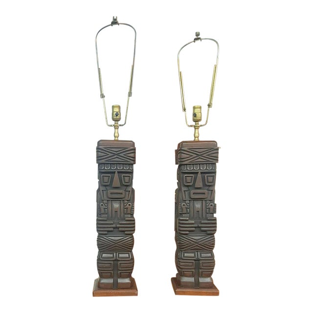 Wooden hawaii totem pole table lamps a pair chairish wooden hawaii totem pole table lamps a pair mozeypictures Images