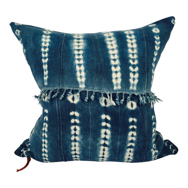 Fringed Vintage Indigo Mudcloth Pillow - Image 1 of 5
