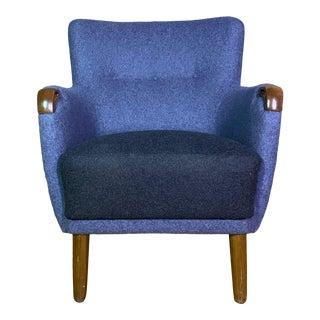 1950s Vintage Danish Blue Armchair For Sale
