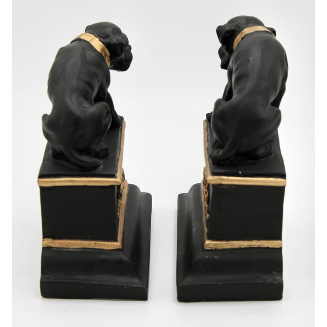Mid 20th Century Black and Gold Ceramic Dog Bookends For Sale - Image 4 of 13