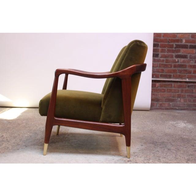 Italian Mid-Century Italian Modern Sculpted Walnut and Velvet Lounge Chair For Sale - Image 3 of 13