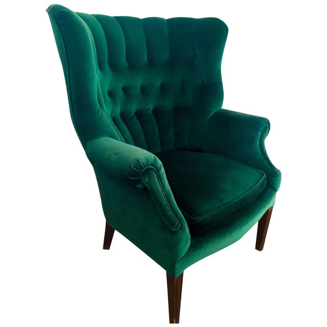 Vintage Emerald Green Armchair - Image 1 of 4