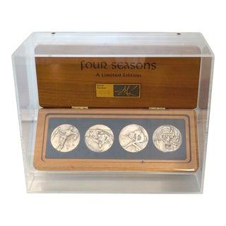 "Salvador Dali Silver Medallion Set- ""The Four Seasons"" For Sale"