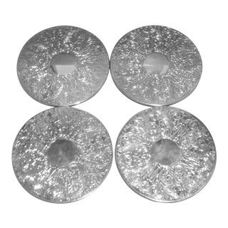 Vintage Large Silver Plated Embossed Coasters -Set of 4