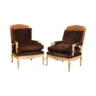 Gustavian Painted Pair Swedish Carved Custom Quality Bergere Chairs For Sale