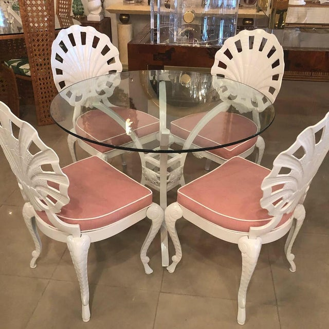 Vintage Brown Jordan Grotto Shell Back White Powdercoated Patio Chairs and Table -Set of 5 For Sale - Image 12 of 13