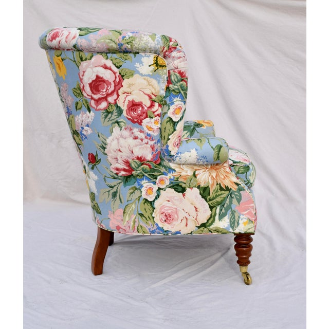 Baker Furniture Company Baker Furniture Floral Tufted Wingback Chair on Brass Casters For Sale - Image 4 of 13